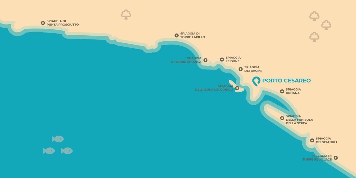 Infografica sulle Spiagge di Porto Cesareo